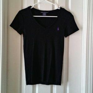 Ralph Lauren Sport Black V-Neck Short Sleeve Top M
